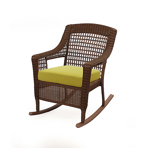 Spring Haven All-Weather Wicker Patio Rocking Chair in Brown with Green Cushion