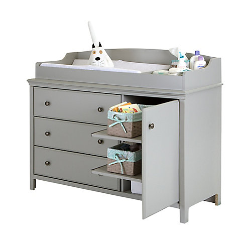 Cotton Candy Changing Table with Removable Changing Station, Soft Gray