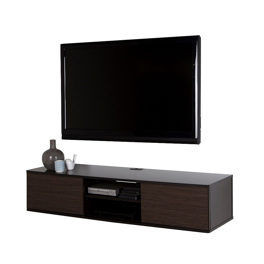 South Shore Agora 56-inch with Wall-Mount Media Console in Chocolate and Zebrano