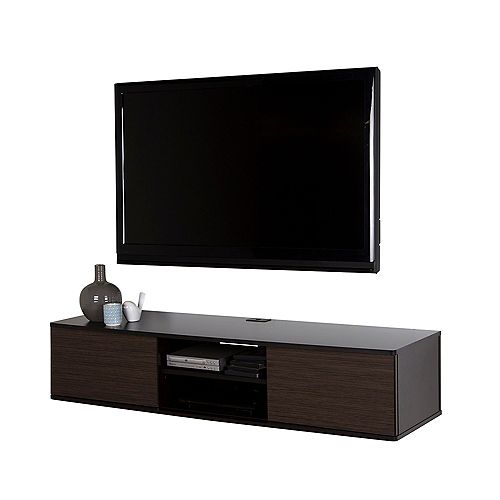 Agora 56-inch with Wall-Mount Media Console in Chocolate and Zebrano