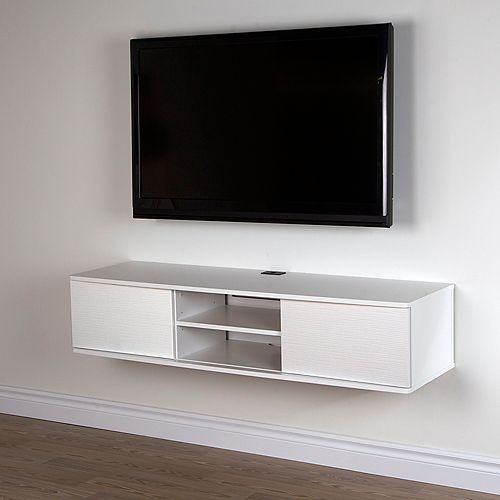 Agora 56 Inch Wide Wall Mounted Media Console, Pure White