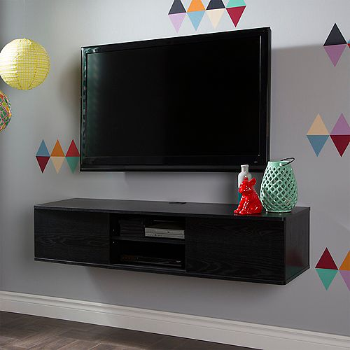 Agora 56-inch Wide Wall Mounted Media Console in Black Oak