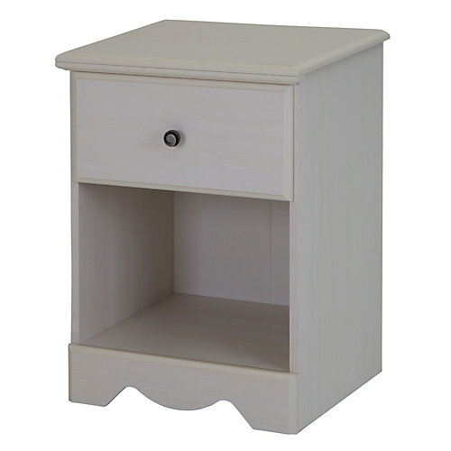 Country Poetry 1-Drawer Nightstand, White Wash