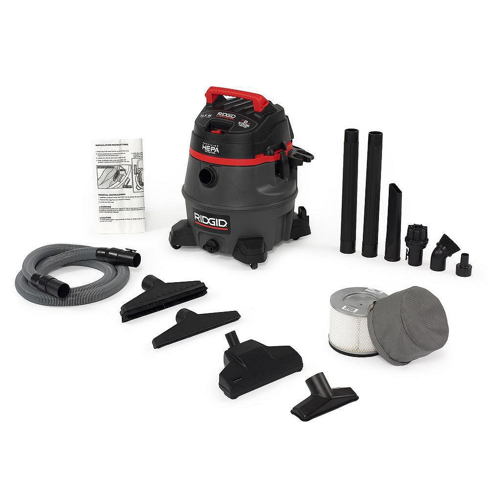 RIDGID 53 L (14 Gal.) Certified HEPA 2-Stage Motor Professional Industrial Wet/Dry Vacuum