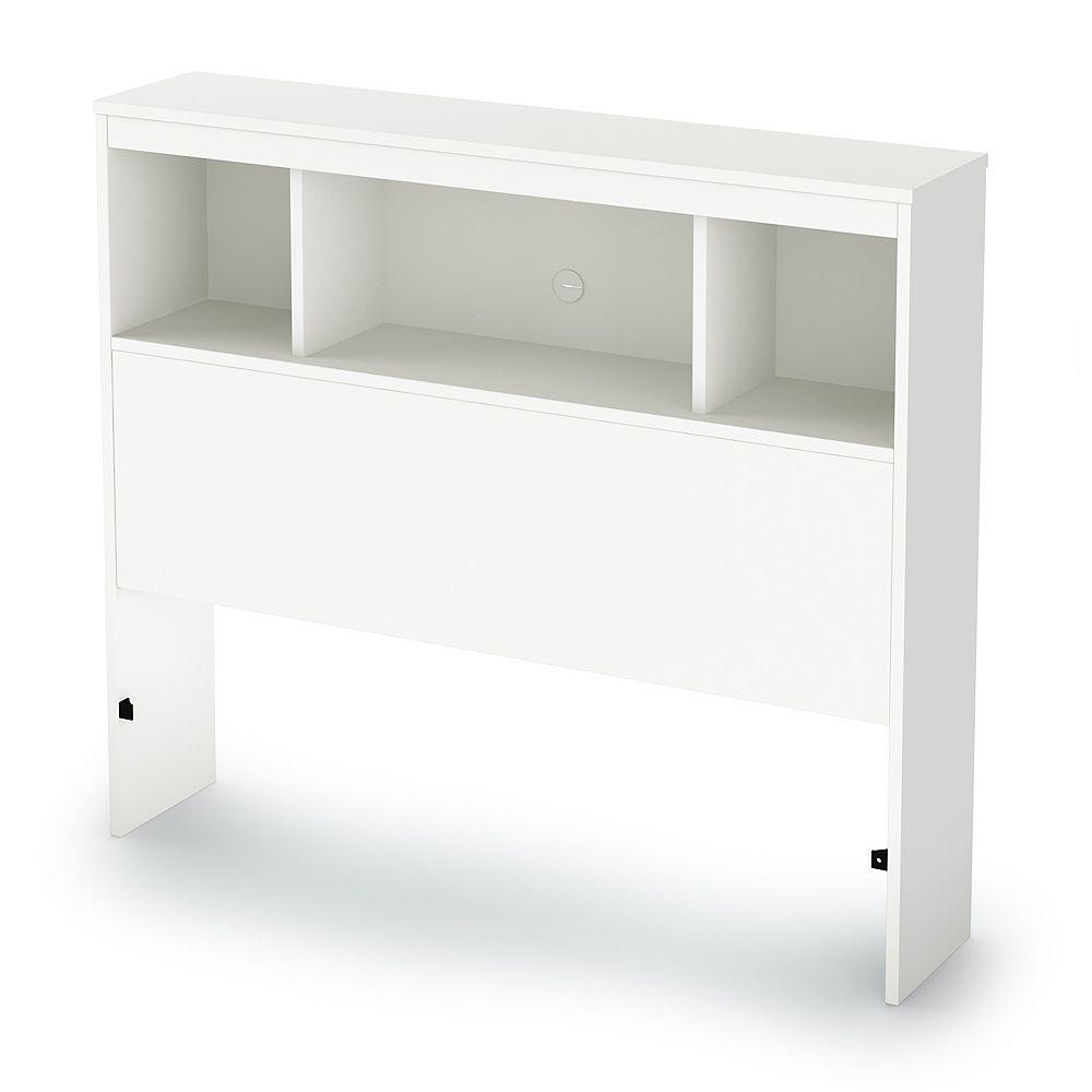 South Shore Litchi Twin Bookcase Headboard (39 Inch), Pure White