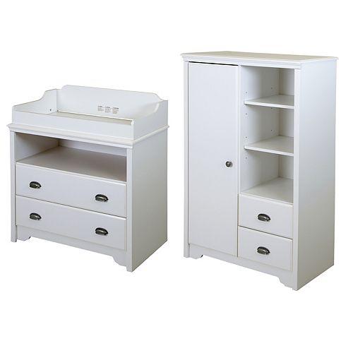 Table à langer et armoire de rangement avec tiroirs, Blanc solide, collection Fundy Tide