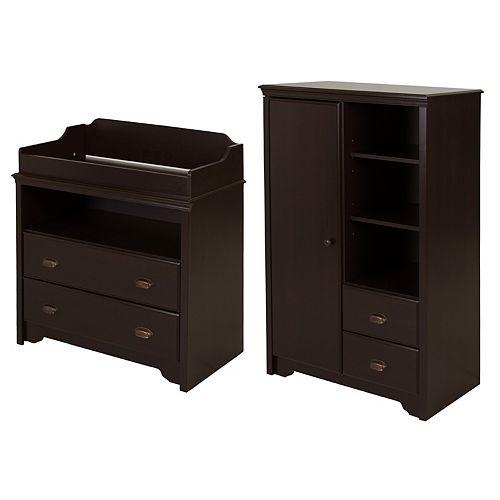 Table à langer et armoire de rangement avec tiroirs, Espresso, collection Fundy Tide