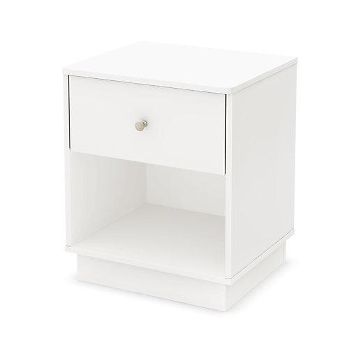 Litchi 1-Drawer Nightstand, Pure White