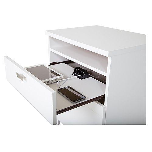 Reevo 21-inch x 23.25-inch x 17.75-inch 2-Drawer Nightstand in White