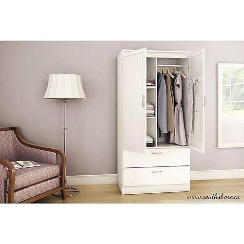 Armoire penderie, Blanc solide, collection Acapella