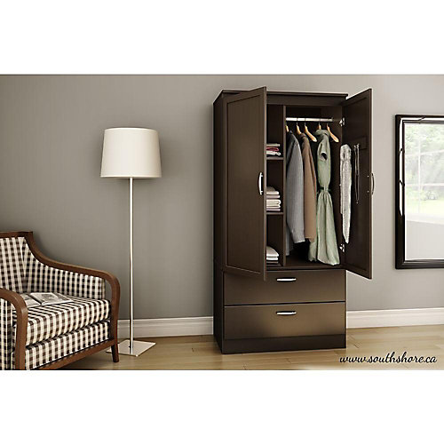 Armoire penderie, Chocolat, collection Acapella