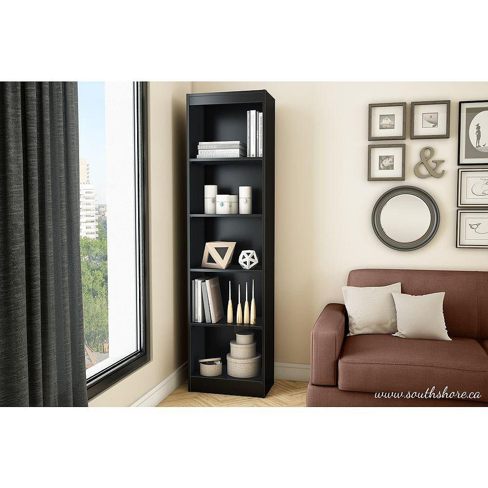 South Shore Axess 5-Shelf Narrow Bookcase, Pure Black