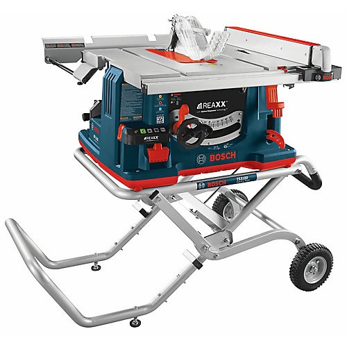 REAXX 10-inch Jobsite Table Saw with Gravity-Rise Wheeled Stand