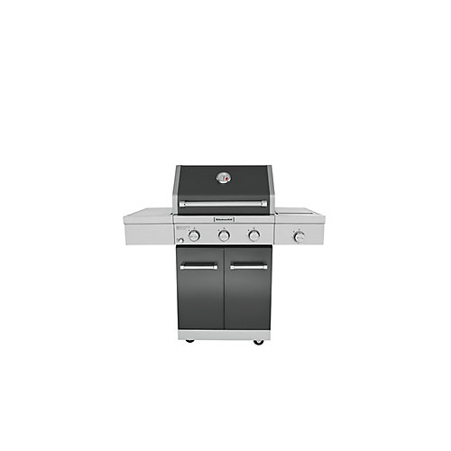 3-Burner Outdoor Propane BBQ with Side-Burner in Black