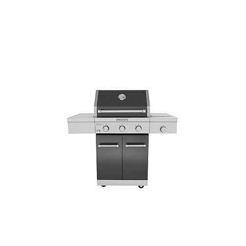 3-Burner Outdoor Propane BBQ with Side-Burner in Black