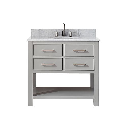 Avanity Brooks 37 Inch Vanity Combo In Chilled Gray Finish With Carrera White Top