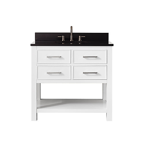 Brooks 37 Inch Vanity Combo In White Finish With Black Granite Top