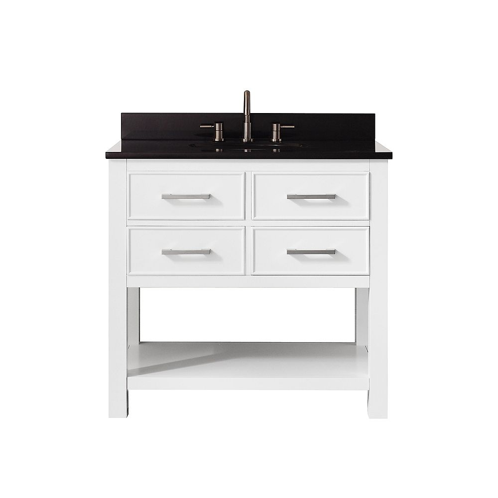 Avanity Brooks 37 Inch Vanity Combo In White Finish With Black Granite Top
