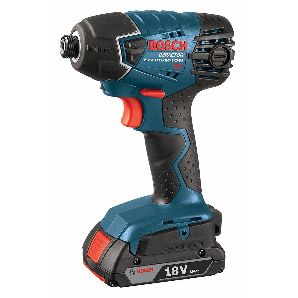 Bosch 18V Li-Ion Cordless 1/4-inch Quick Change Hex Impact Driver with 2 SlimPack Batteries & Charger
