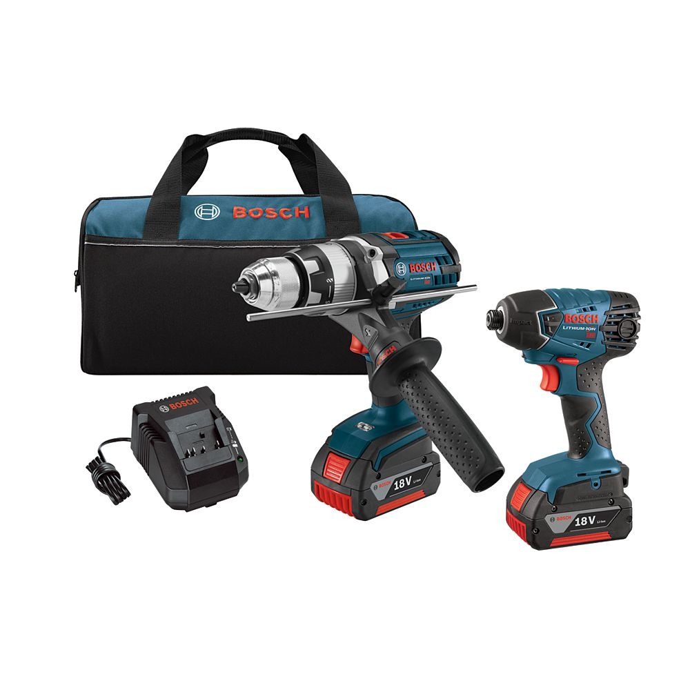 Bosch 18 V Lithium-Ion 2-Tool Combo Kit with 1/2 Inch Hammer Drill/Driver and 1/4 Inch Hex Impact Driver