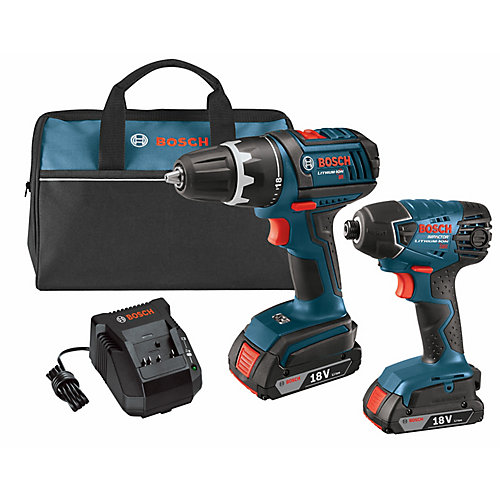 18 V Lithium-Ion 2-Tool Combo Kit with 1/2 Inch Drill/Driver and 1/4 Inch Hex Impact Driver