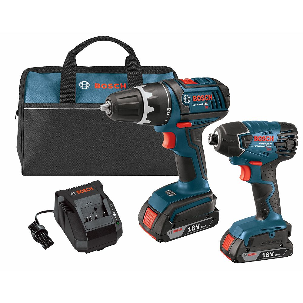 Bosch 18 V Lithium-Ion 2-Tool Combo Kit with 1/2 Inch Drill/Driver and 1/4 Inch Hex Impact Driver