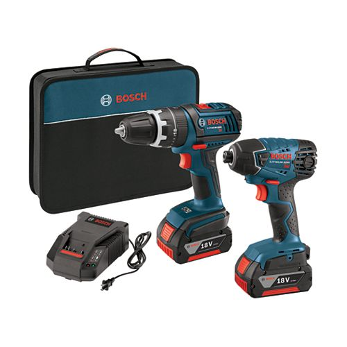 18 V 2-Tool Compact Tough Hammer Drill Driver and Hex Impact Driver Combo Kit