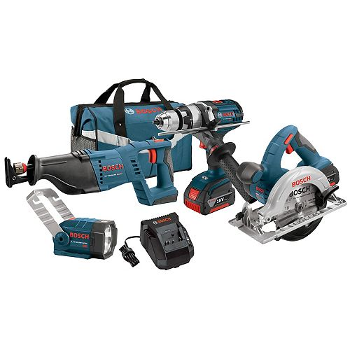 18 V 4-Tool Combo Kit with 1/2 In. Hammer Drill/Driver, Reciprocating Saw, Circular Saw and Flashlight