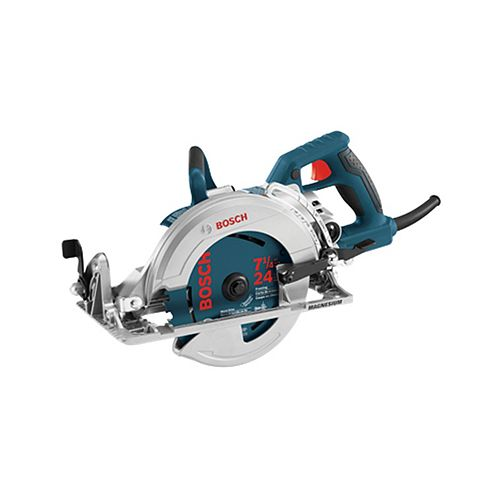 Bosch 120V 7 1/4-inch Corded Circular Saw Worm Drive with Carbide Blade, Spindle Lock and Depth Adjustment