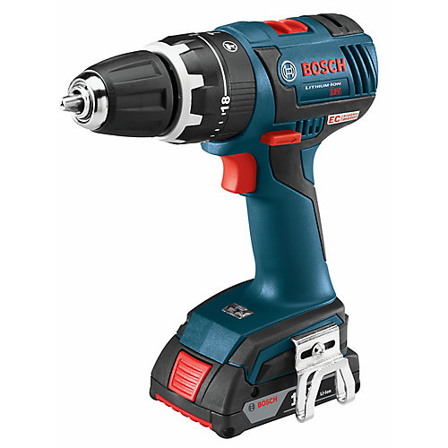 18V Lithium Ion Cordless EC Brushless Compact Tough 1/2-inch Hammer Drill/Driver with SlimPack Batteries