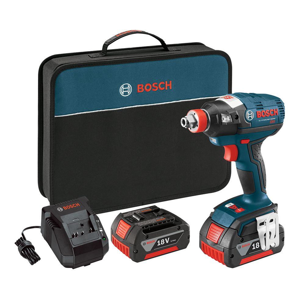 Bosch 18V  EC Brushless 1/4-inch and 1/2-inch Socket-Ready Cordless Impact Driver with FatPack Batteries and Case