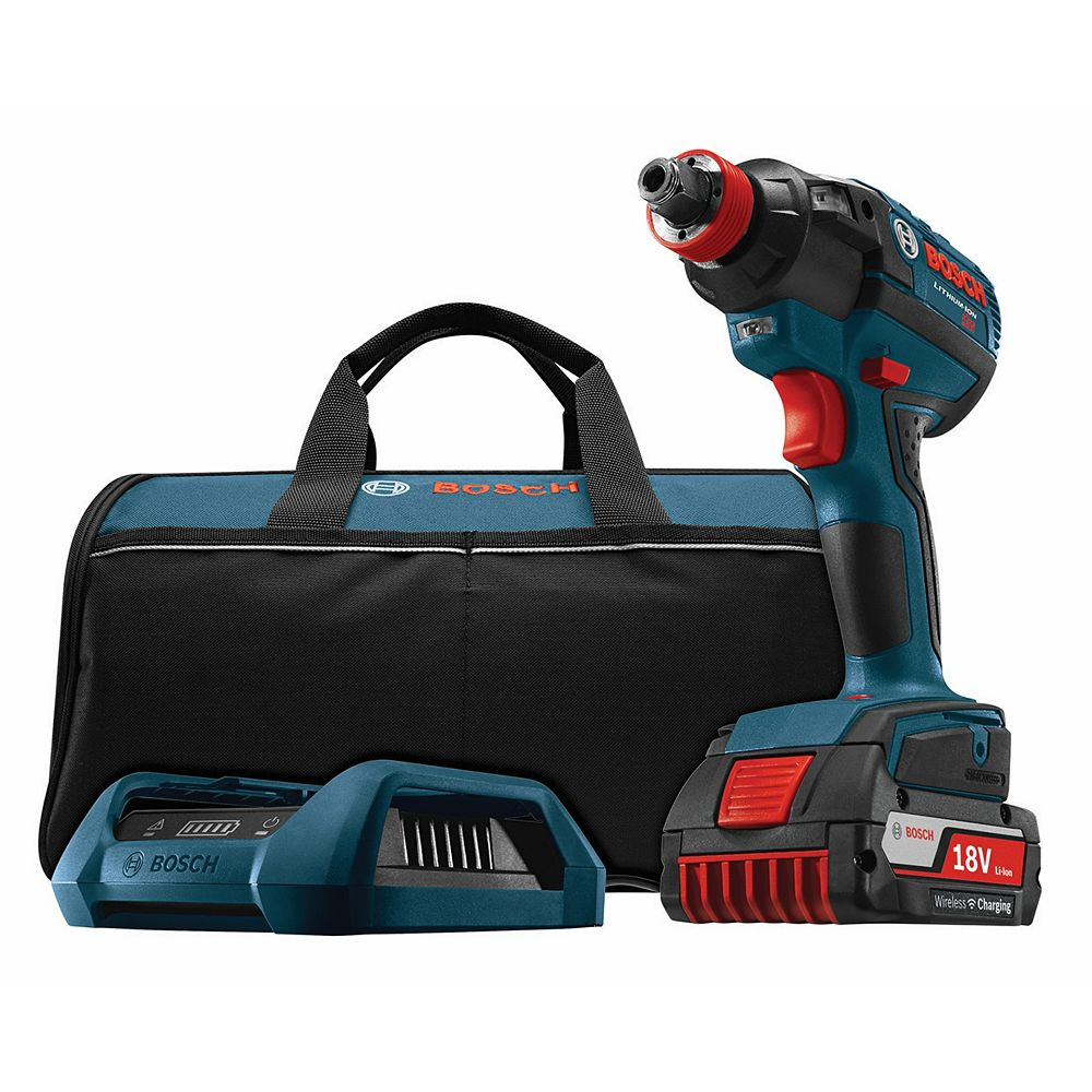 Bosch 18V  EC Brushless 1/4-inch and 1/2-inch Socket-Ready Cordless Impact Driver with Wireless Charging
