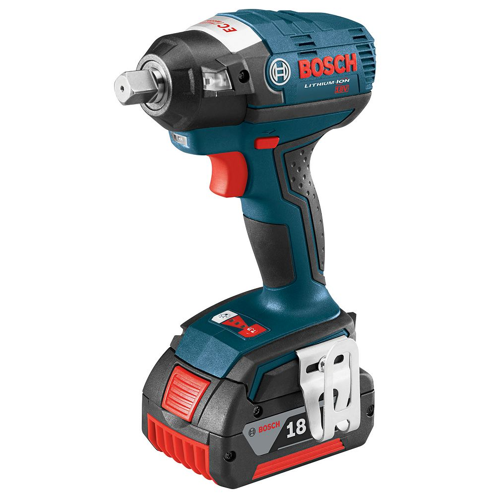 Bosch 18V EC Brushless Lithium Ion Cordless 1/2 inch Square Drive Impact Wrench with Detent Pin