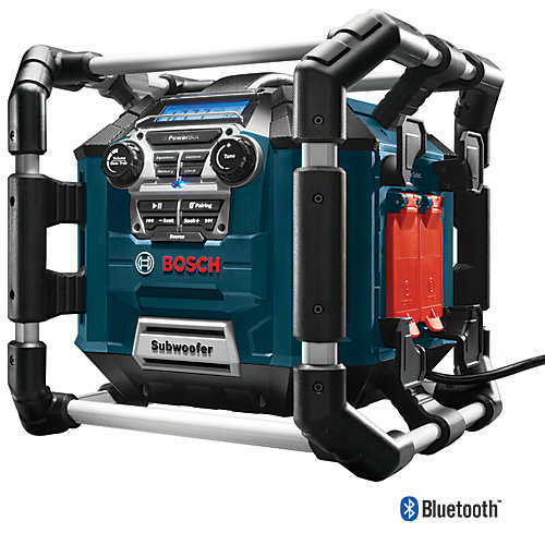 Power Boss Jobsite AM/FM Radio/Charger/Digital Media Stereo with 360 Degree Sound and Bluetooth