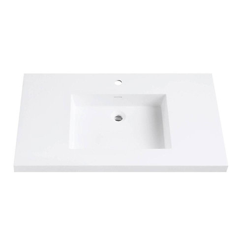 Versastone 37-Inch W Solid Vanity Top in Matte White with 22-Inch Deep Bowl