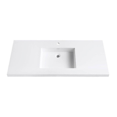 Versastone 49-Inch W Solid Vanity Top in Matte White with 22-Inch Deep Bowl