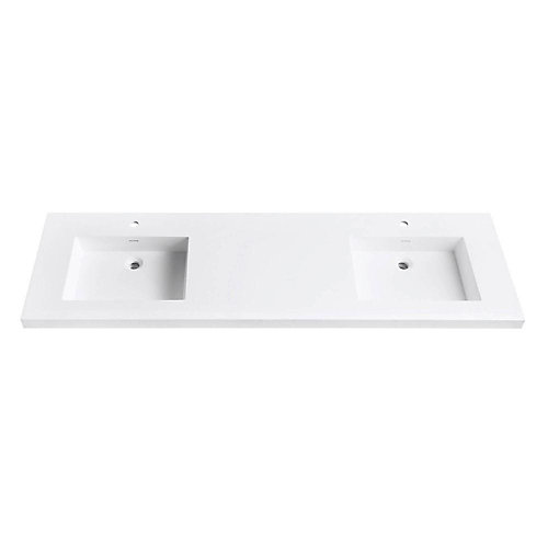 Versastone 73-Inch W Solid Vanity Top in Matte White with 22-Inch Deep Bowl