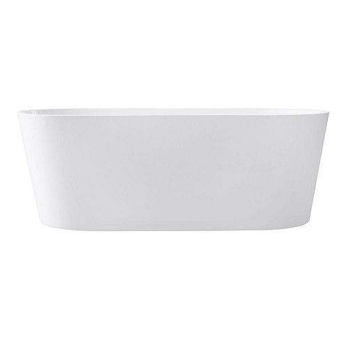 Avanity Aria 67 Inch Free Standing Acrylic Soaking Tub With Center Drain, Pop-Up Drain Assembly, And Overflow