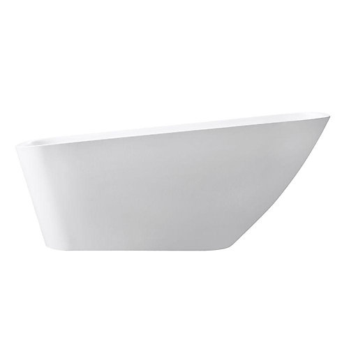 Rain 66.7 Inch Free Standing Acrylic Soaking Tub With Rear Drain, Pop-Up Drain Assembly, And Overflow