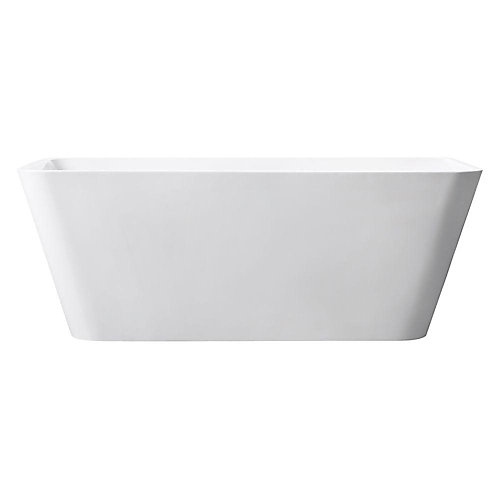 Piron 63 Inch Free Standing Acrylic Soaking Tub With Center Drain, Pop-Up Drain Assembly, And Overflow