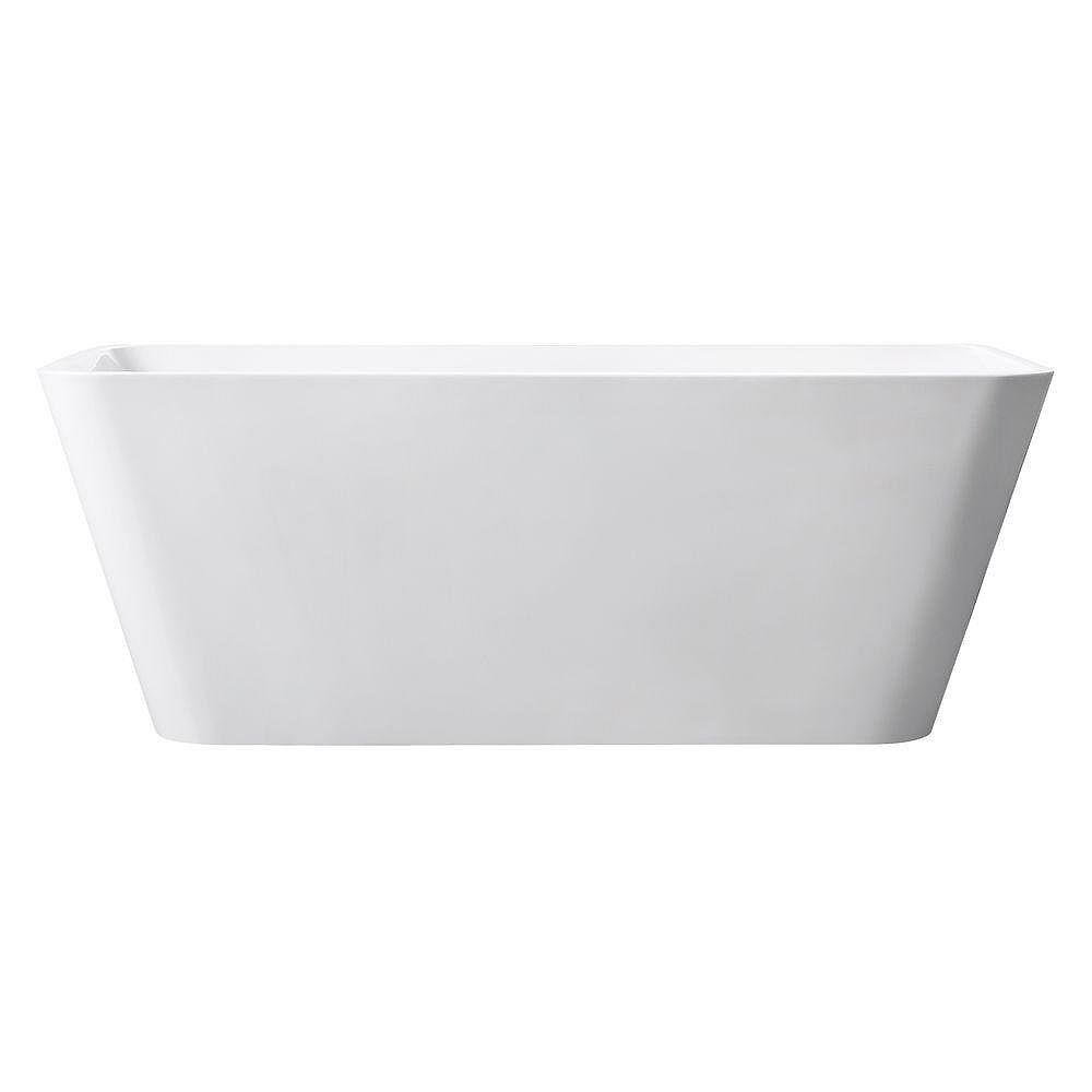 Avanity Piron 63 Inch Free Standing Acrylic Soaking Tub With Center Drain, Pop-Up Drain Assembly, And Overflow