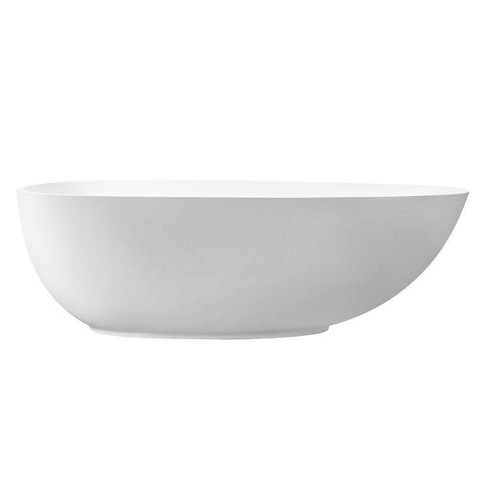 Avanity VersaStone Muse 67.5 Inch Free Standing Soaking Tub Center Drain, Pop-Up Drain Assembly, And Overflow