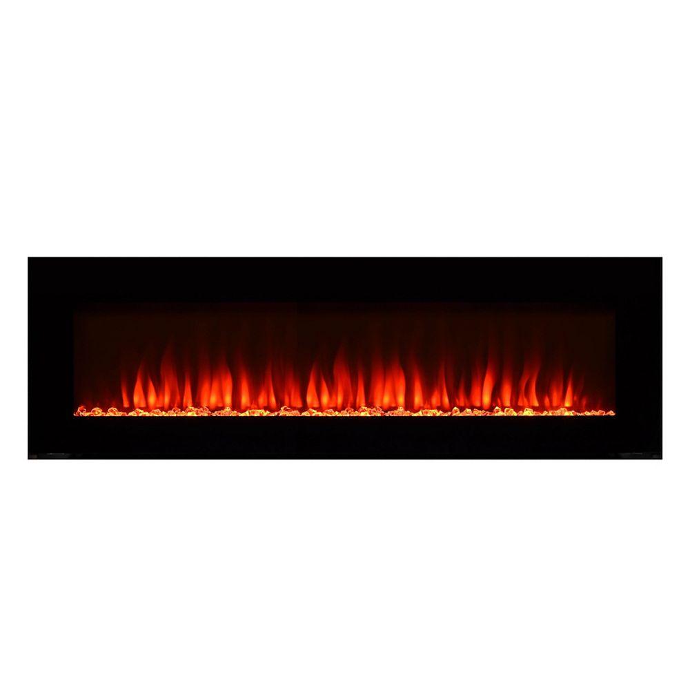 Paramount Premium Premium 60-inch Wall-Mount Electric Fireplace in Black