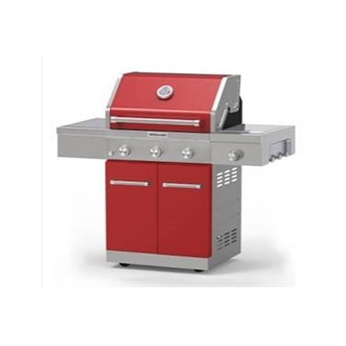 3-Burner Outdoor Gas BBQ with Side-Burner in Red