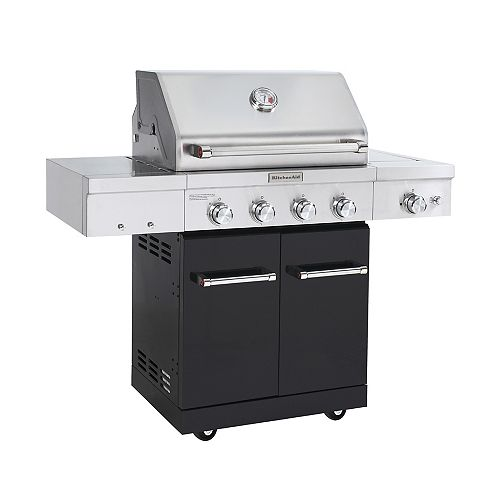 KitchenAid 4-Burner Propane BBQ in Stainless Steel with Ceramic Infrared Sear-Burner