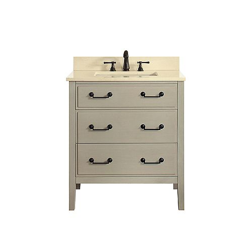 Avanity Delano 31 Inch Vanity Combo In Taupe Glaze Finish With Galala Beige Top