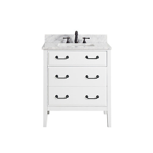 Delano 31 Inch Vanity Combo In White Finish With Carrera White Top