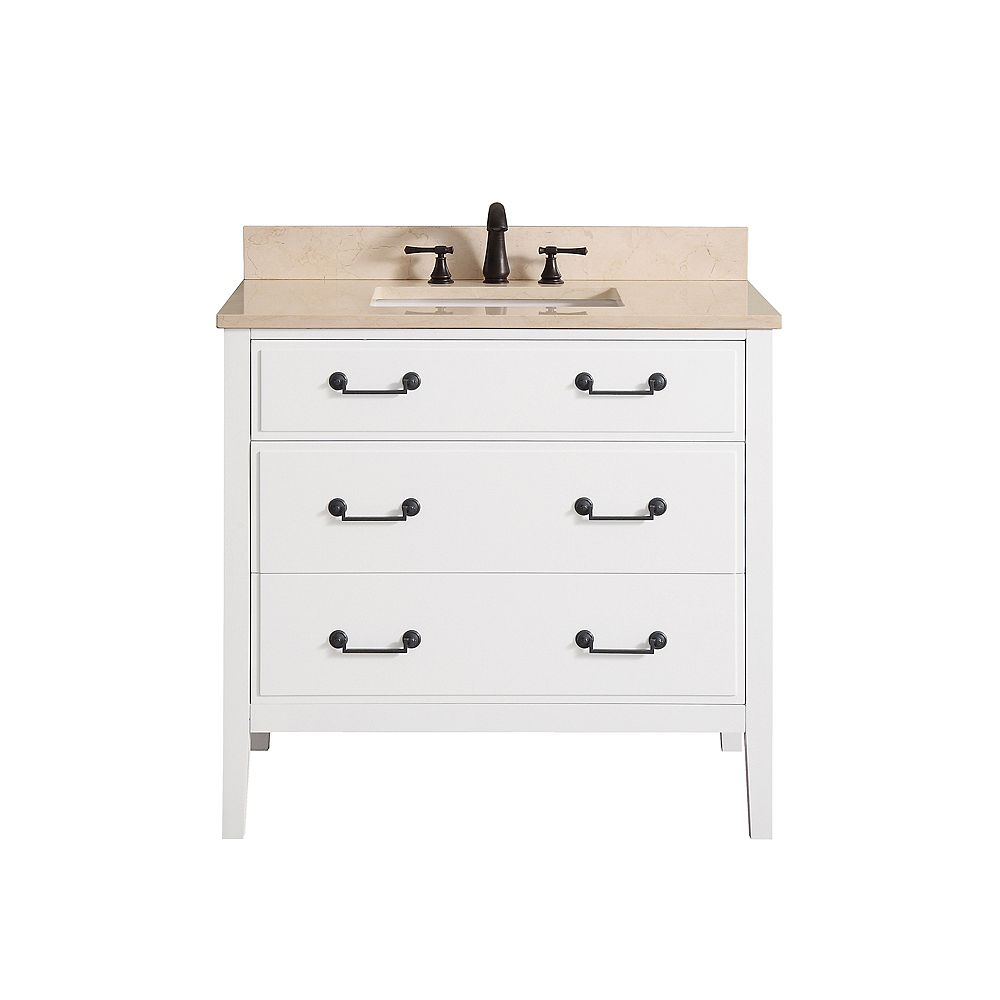 Avanity Meuble-lavabo Avanity Delano au fini blanc avec comptoir en marbre beige au fini Galala de 37 po