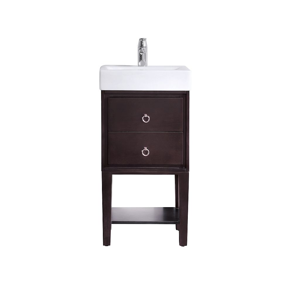 Kent 12 Inch Vanity In Coffee Finish With Vitreous China Top
