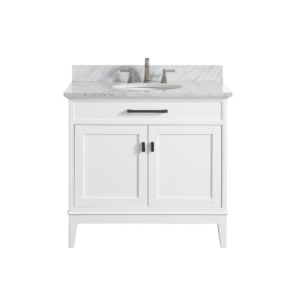 Avanity Madison 37 Inch Vanity Combo In White Finish With Carrera White Top
